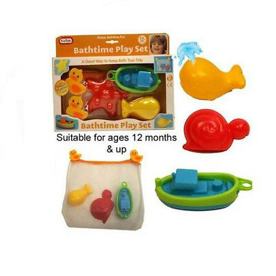 Bathtime Play Set with Tidy Bag Baby Toddler Bath Floating Toys Boat Whale 12m+