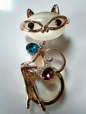 Silver Cat Pin Brooch Spectacle Eye Glasses Holder Crystal Rhinestone Green
