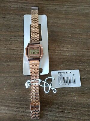 Vintage Digital Casio Stainless Steel Watch A159WA-N1DF Retro Rose Color