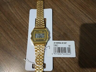 Vintage Digital Casio Stainless Steel Watch A159WA-N1DF Retro Shiny Gold Color
