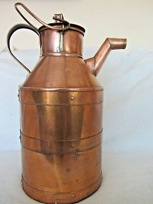 Large Antique copper  water can/jug/pitcher. 7lbs. Hand made pouring churn