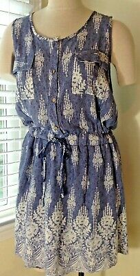 b0fe874d68 Be Beach by Exist Blue Floral Damask Summer Dress Suit Cover Up Button Up  NWT