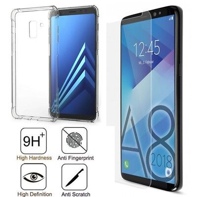 CLEAR GEL CASE / TEMPERED GLASS SCREEN PROTECTOR FOR SAMSUNG GALAXY J4 Plus J4+