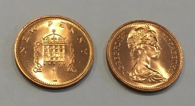 1971 FIRST 1p ONE PENCE COIN IN UNCIRCULATED CONDITION Fresh from mint roll