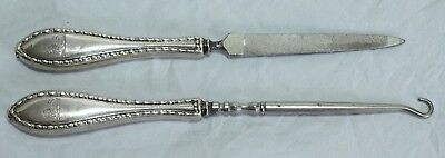 Birks Sterling Silver Nail File & Button Hook - Lion Engraving