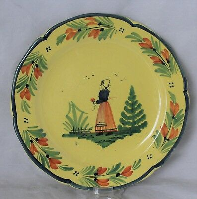 """Henriot Quimper 10"""" Faience Pottery Plate - Breton Lady On Yellow Background"""