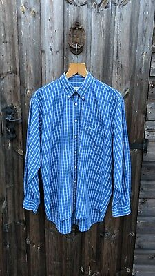 Vintage Men s Thomas Burberry L Blue White Nova Check Spell Out Casual Shirt 4244c6180d9