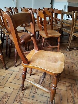 Solid Wooden Vintage Chapel Chairs. 12 remaining