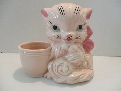 Vintage Hull Art Pottery Two Tone Pink Cat with Bow Planter #61