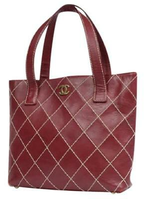 Chanel Timeless Quilted Burgundy Wild Stitch Tote Bordeaux Shoulder Bag  213524 225b442003