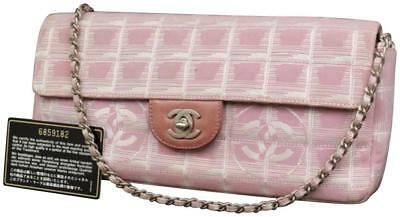6fc35e68313892 Chanel East West Quilted New Line Flap Pink Canvas Shoulder Bag 230050