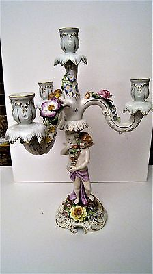 Antique German Porcelain Von Schierholz  4 Light Candelabra Cherub Angel rare