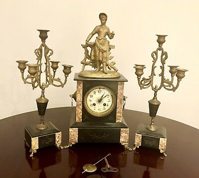 Antique French Black Slate And Marble Mantel Clock With Candelabras