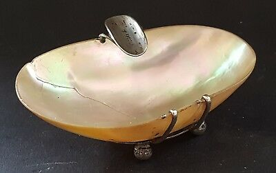 Sterling silver & mother of pearl shell vintage Art Deco antique ashtray