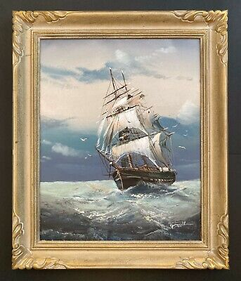 Vintage 20th Century Ship Boat Seascape Oil Painting on Canvas signed Baillie