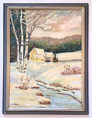 Vintage 20th Century Oil Painting Winter Snow Snowy Landscape Farm House Signed