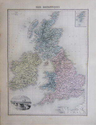 A stunning large map of Great Britain & Ireland by L Smith - Jean Migeon c.1878