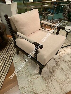 Timeless Farmhouse Decor Chic Spindle Wood Accent Arm Chair Mahogany Stain