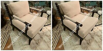 Pair Timeless Designer Decor Chic Spindle Wood Accent Arm Chair Mahogany Stain