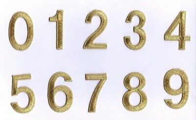 "2"" Gold Numbers -Your Choice- Iron on Applique/Embroidered Patch"
