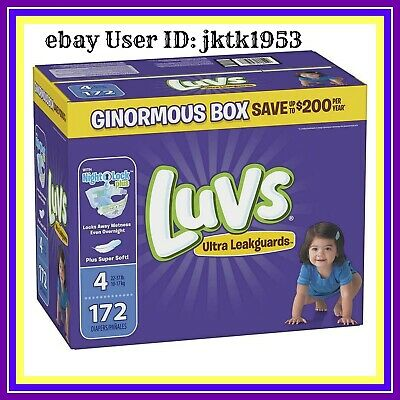 Luvs Ultra Leakguards Disposable Diapers, Size 4, 172 Count, ONE Month Supply
