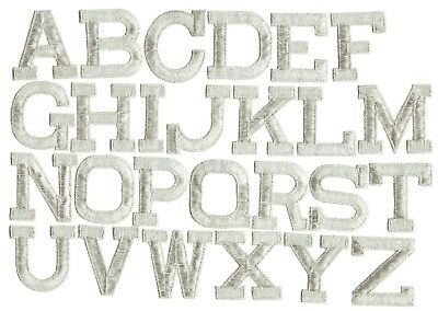 """2"""" Silver Alphabet/Letters -Your Choice- Iron on Applique/Embroidered Patch"""