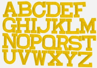 "2"" Yellow Alphabet/Letters -Your Choice- Iron on Applique/Embroidered Patch"