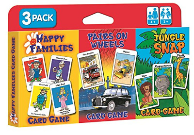Childrens Card Games Tripack Jungle Snap Happy Families Pairs on Wheels Travel