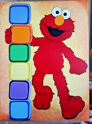 """Elmo acrylic painting on Canvas18""""x24"""" Perfect for Children's room Wall Decor"""