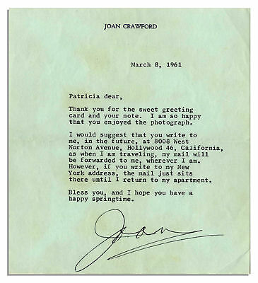 Joan Crawford Typed Letter Signed from 1961