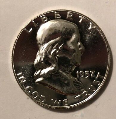 1957 Silver Proof Franklin Half Dollar 50C Gem Beauty High Grade