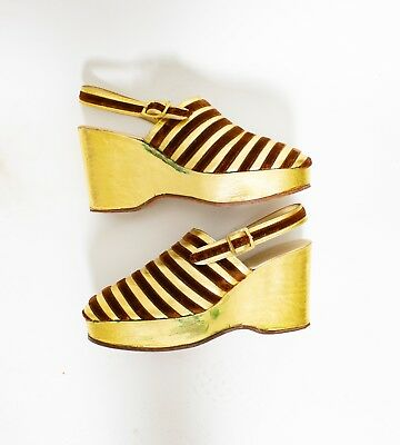Vintage 1970s Platform Heels Metallic Leather Gold Velvet Striped Wedge Chunky S