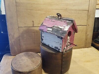 Nice Antique Vintage Primitive Mid 1900's Old Chippy Painted Small Bird House