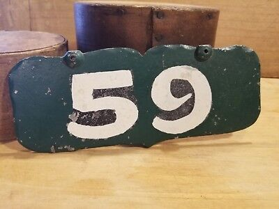 """Antique Vintage Primitive Painted Early 1900's Metal House Sign """"59"""" - Neat"""