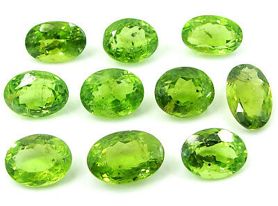 34.65 Ct Natural Green Peridot Loose Gemstone Lot of 10 Pcs Oval Stone - 22837