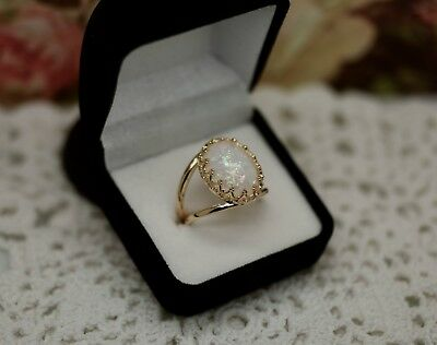 Vintage Jewellery Gold Ring with Opal size 8 or P Antique Victorian Jewelry