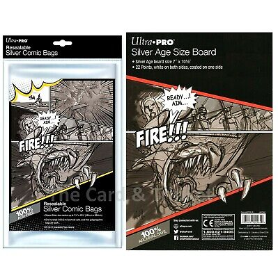 Ultra PRO 10 x Resealable Silver Size Comic Bags + 10 x Backing Boards Bundle