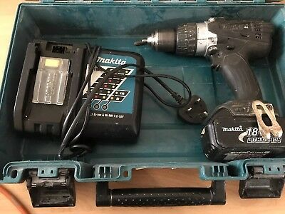 Makita DHP458Z Black 18V Cordless Hammer Driver Drill, Battery, Charger And Case
