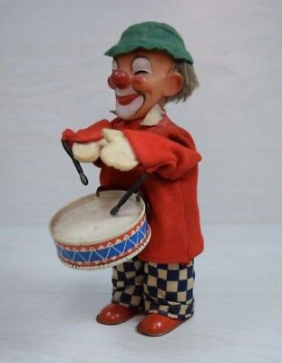 Vintage Collectible Mechanical Wind Up Clown Toy with Drum 1950 Diecast Handmade