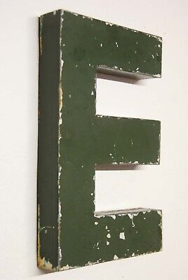 "1930s Antique French Shop Letter Sign E Green Metal 10"" Bar Reclaimed Industrial"