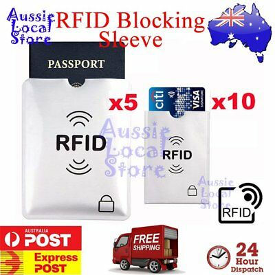 5x Passport & 10x RFID Blocking ID Credit Card Protector Sleeve Shield Holder AU