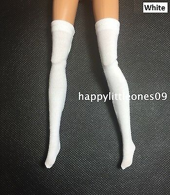 1 pair Brand New Handmade Socks Stockings for Barbie / Monster High Doll - White