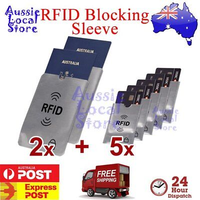 RFID Blocking Sleeve Secure Credit Card ID Protector Anti Scan Safet 2xL + 5xS