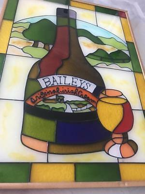 Vintage Baileys Irish Cream Liqueur Stained Glass Home Bar Advert Sign Mirror ?