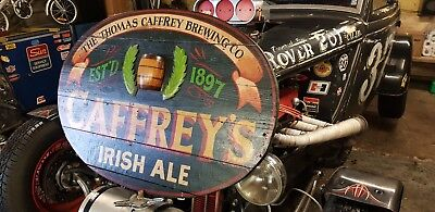 Vintage Hand Painted Carved Wooden Caffrey's Irish Ale Sign
