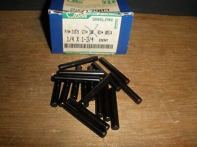 "1/4"" X 1-3/4"" Dowel Pins Blue Devil Black Oxide Ebony Finish USA Made (Qty.17)"