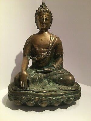 Antique Bronze Buddha With Excellent Detail And Patina, 26cm