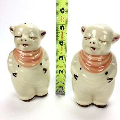 "Vintage Shawnee Smiley Pigs Salt & Pepper Shakers, BIG Large 5"" inch, pink/peach"