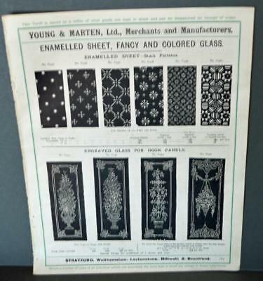 Vintage Architectural Advert ' Young and Marten Stratford 'Enamelled Fancy Glass