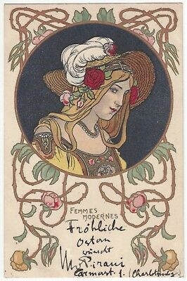 1901 Beautiful French Art Nouveau Blonde Woman in Hat - Vintage Artist Signed PC